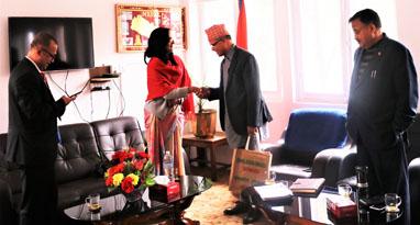 Secretary of MOICS Mr. Kedar Bahadur Adhikari during the trade and transit Meeting with Ambassador of Bangladesh on 26 feb, 2019.