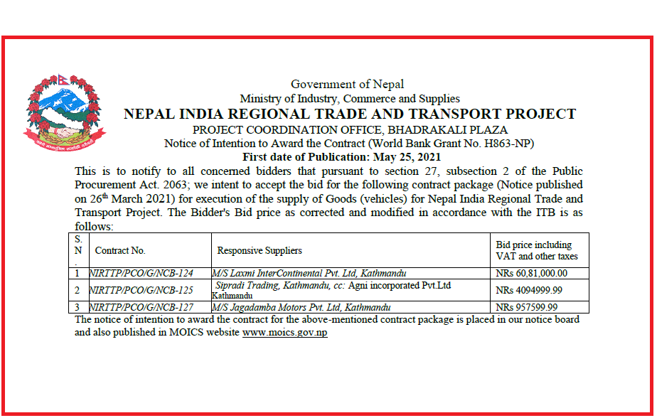 Notice of Intention to Award the Contract (World Bank Grant No. H863-NP).